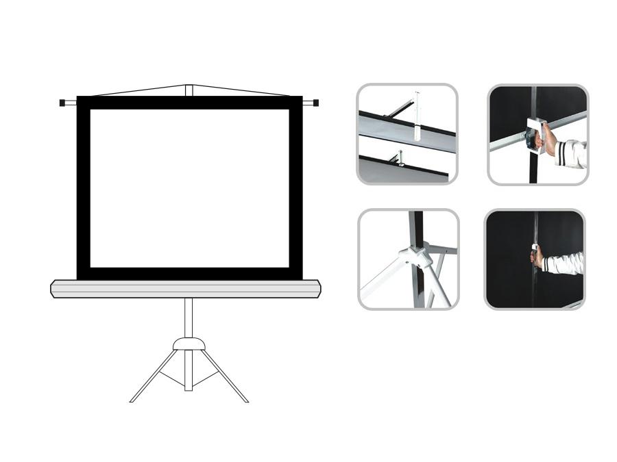 stativleinwand leinwand mit stativ heimkino video st nder 145 x 110 4 euroelectronics. Black Bedroom Furniture Sets. Home Design Ideas
