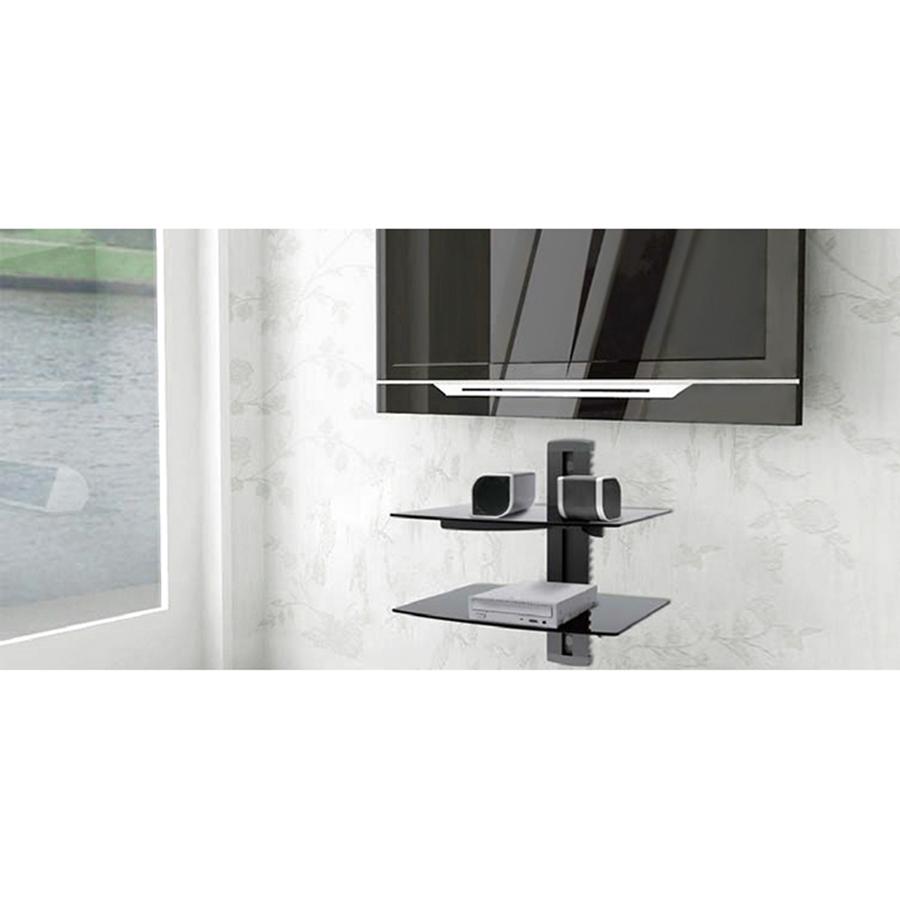 dvd hifi wandregal glasregal wandhalterung tv media konsole ablage 2 glasb den ebay. Black Bedroom Furniture Sets. Home Design Ideas
