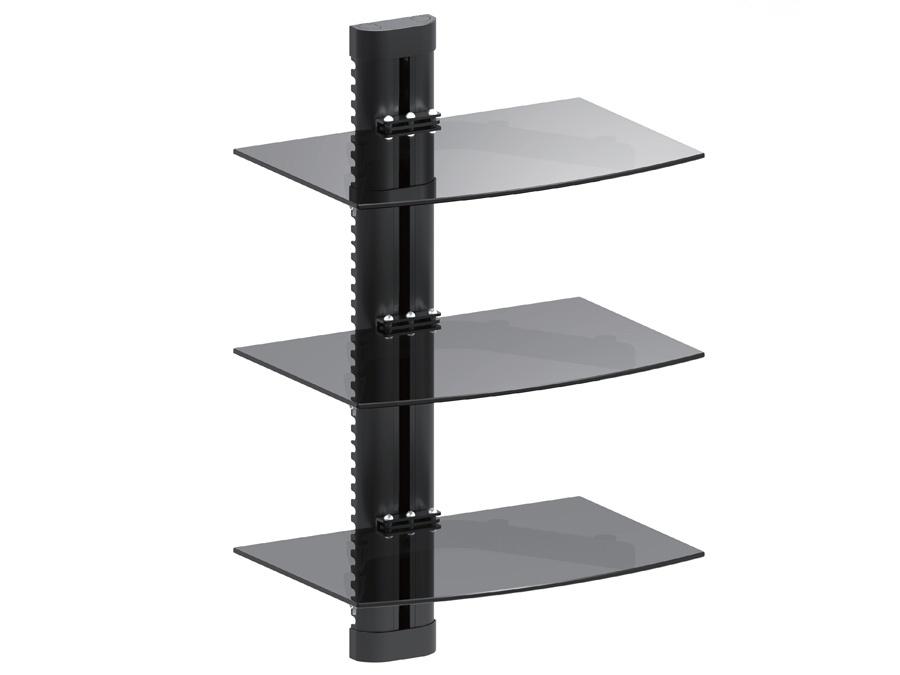 dvd hifi wandregal glasregal wandhalterung tv media konsole ablage 3 glasb den ebay. Black Bedroom Furniture Sets. Home Design Ideas