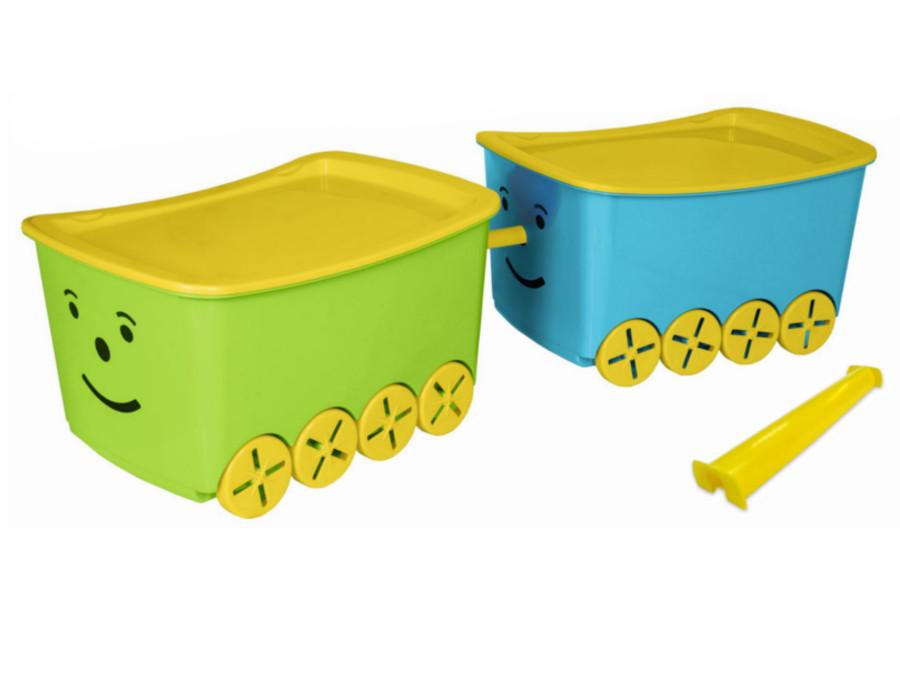 spielzeugbox box spielzeugkiste kasten kiste 52 l mit r dern und deckel top. Black Bedroom Furniture Sets. Home Design Ideas