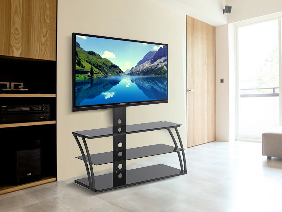 tv halterung mit glasplatten tv standfu halter st nder bis 55 zoll ebay. Black Bedroom Furniture Sets. Home Design Ideas