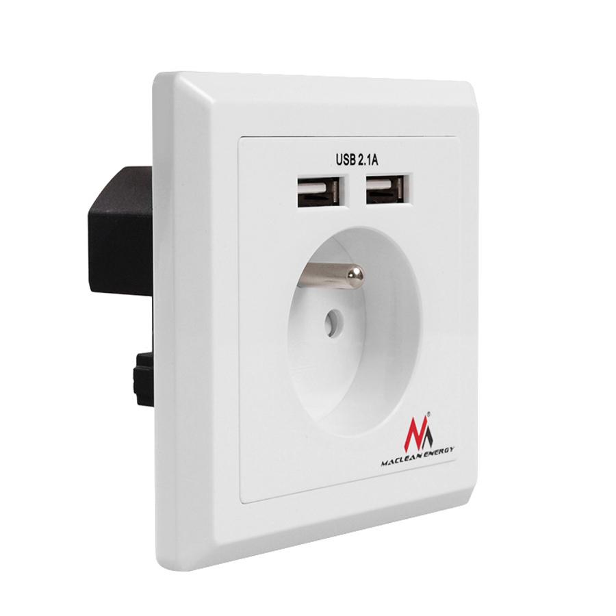 prise de courant secteur socket avec 2xusb mce79 encastr 5v dc 2 1a ebay. Black Bedroom Furniture Sets. Home Design Ideas