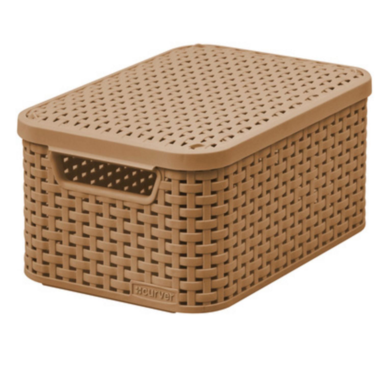 Curver Rattan Basket With Lid S Size Natural Fibre Look Plastic Storage Boxes Ebay