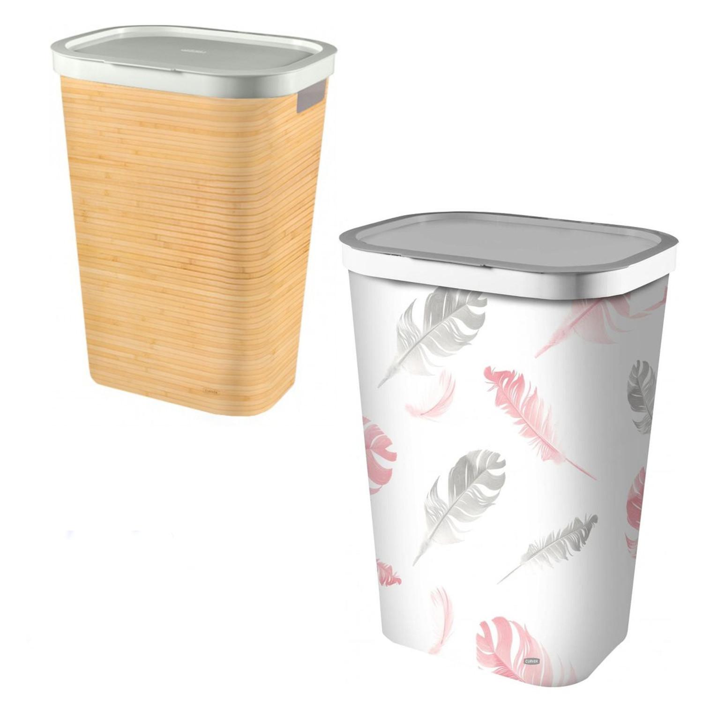w schekorb mit deckel 60 l zwei muster curver w schebeh lter truhe bambus feder ebay. Black Bedroom Furniture Sets. Home Design Ideas