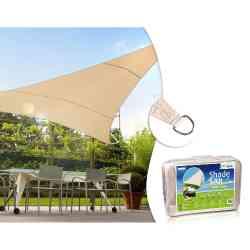 Żagiel ogrodowy zacieniacz UV poliester 5m trójkąt GreenBlue GB502 kremowy hydrofobowa powierzchnia