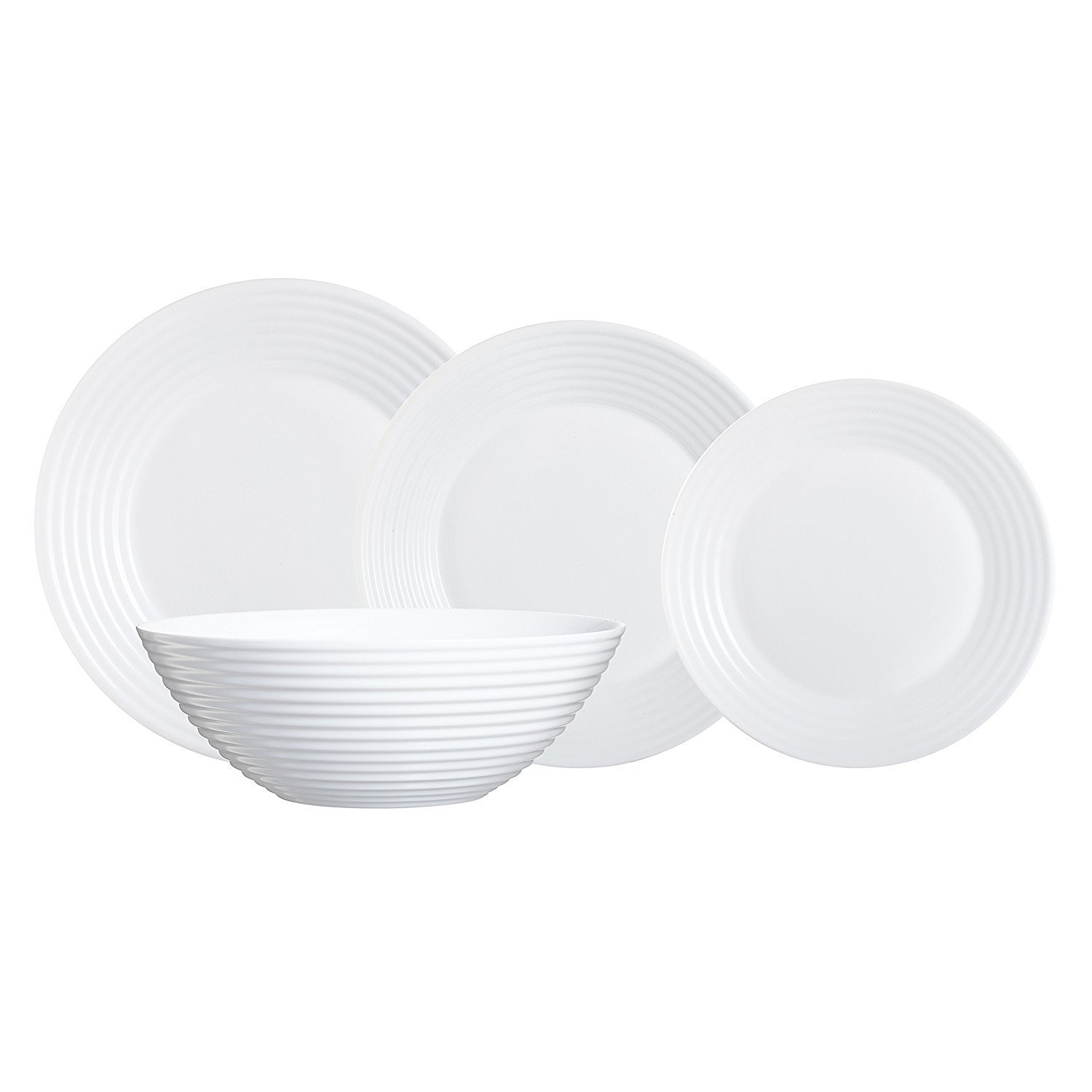 Luminarc 19 piece dinner set plate dessert plate soup bowl for Amazon vajillas completas