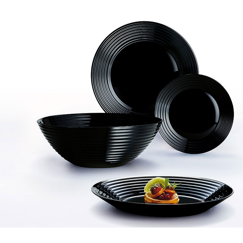tafelset service luminarc harena set teller sch ssel schwarz wei modern ebay. Black Bedroom Furniture Sets. Home Design Ideas