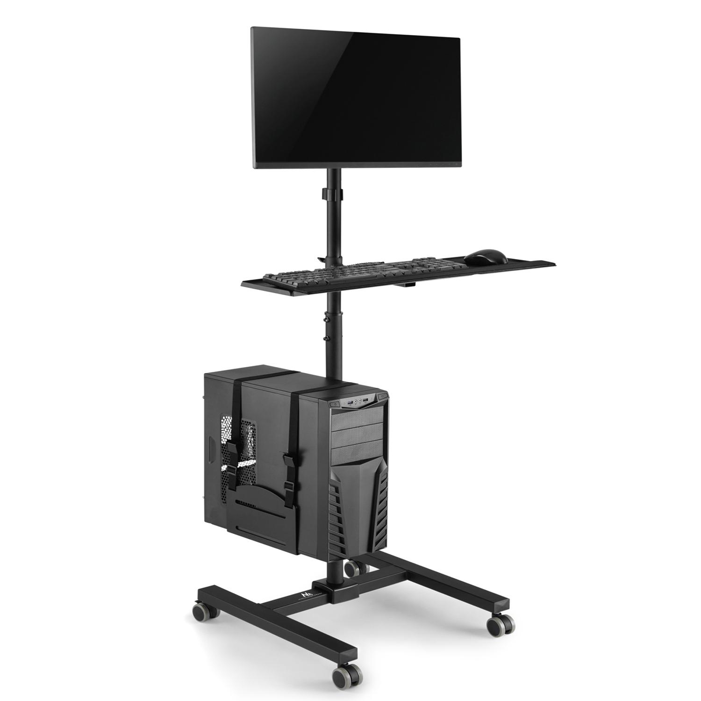 Mobile PC Black High Quality UK Trolley Adjustable Desktop Computer Stand