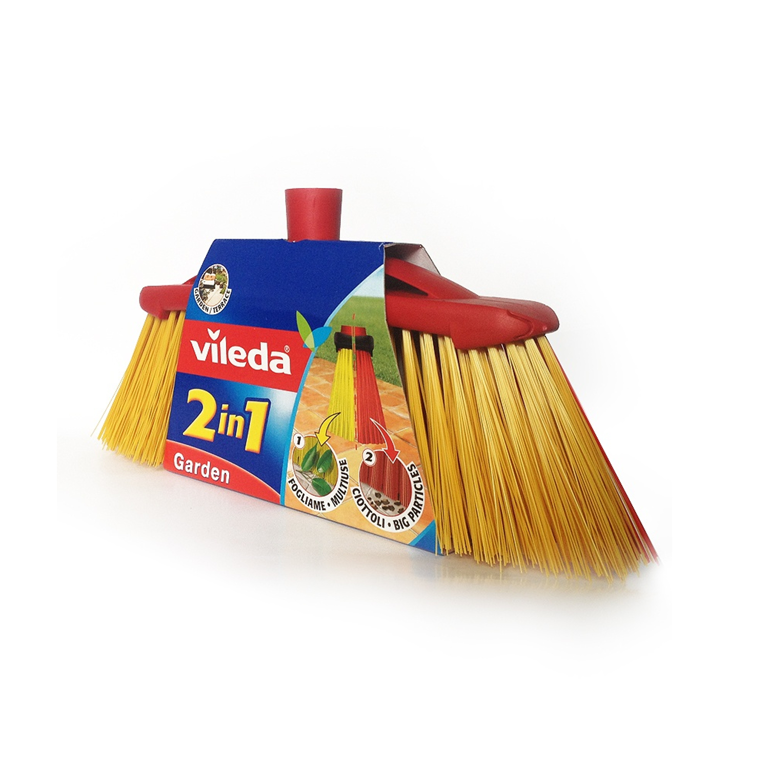Vileda Indoor Outdoor Bristle Broom Soft Brush Long Handle