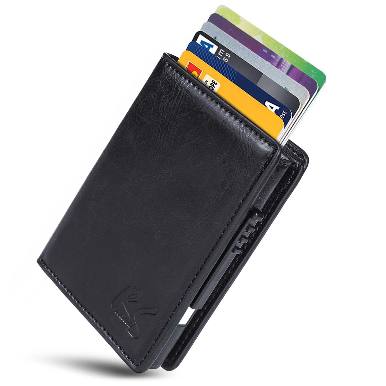Nero BeautyG Portafoglio sottile della clip di denaro della carta di credito della carta di credito in pelle