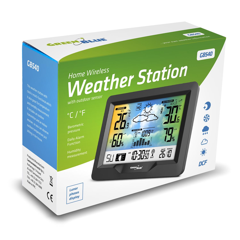 Green Blue GB541 Funk Wetterstation mit Au/ßensensor Regenmesser DCF Temperatur Luftfeuchtigkeit Alarm Kalender Niederschlagsmesser