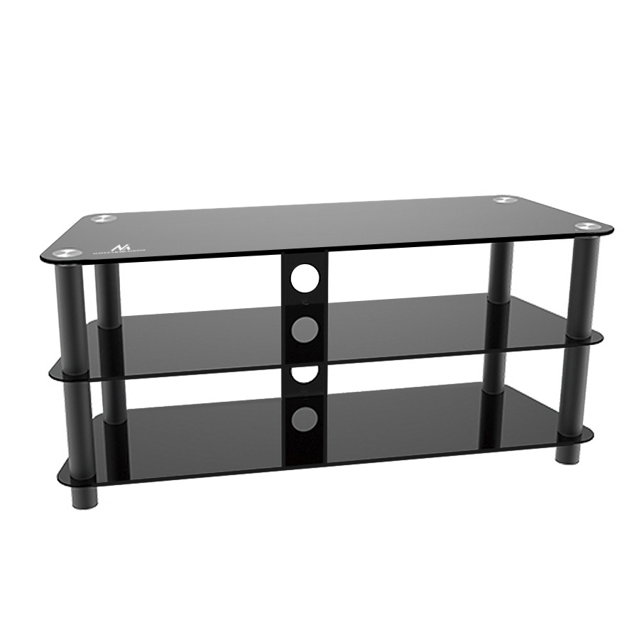 Table Tv Shelf Stand 40kg Universal Luxury Black Tempered Glass Tv