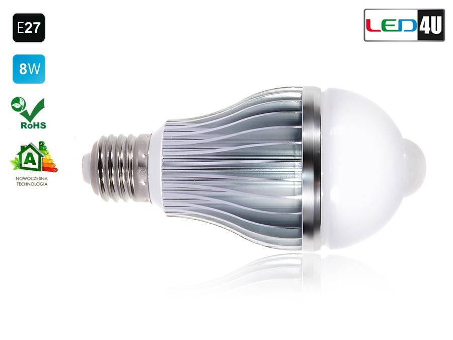 led4u ampoule avec d tecteur de mouvement clairage lumi re 6000 6500k e27 ebay. Black Bedroom Furniture Sets. Home Design Ideas