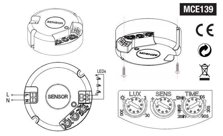 Microwave Motion Detector Ceiling 360 ° Presence Sensor 3
