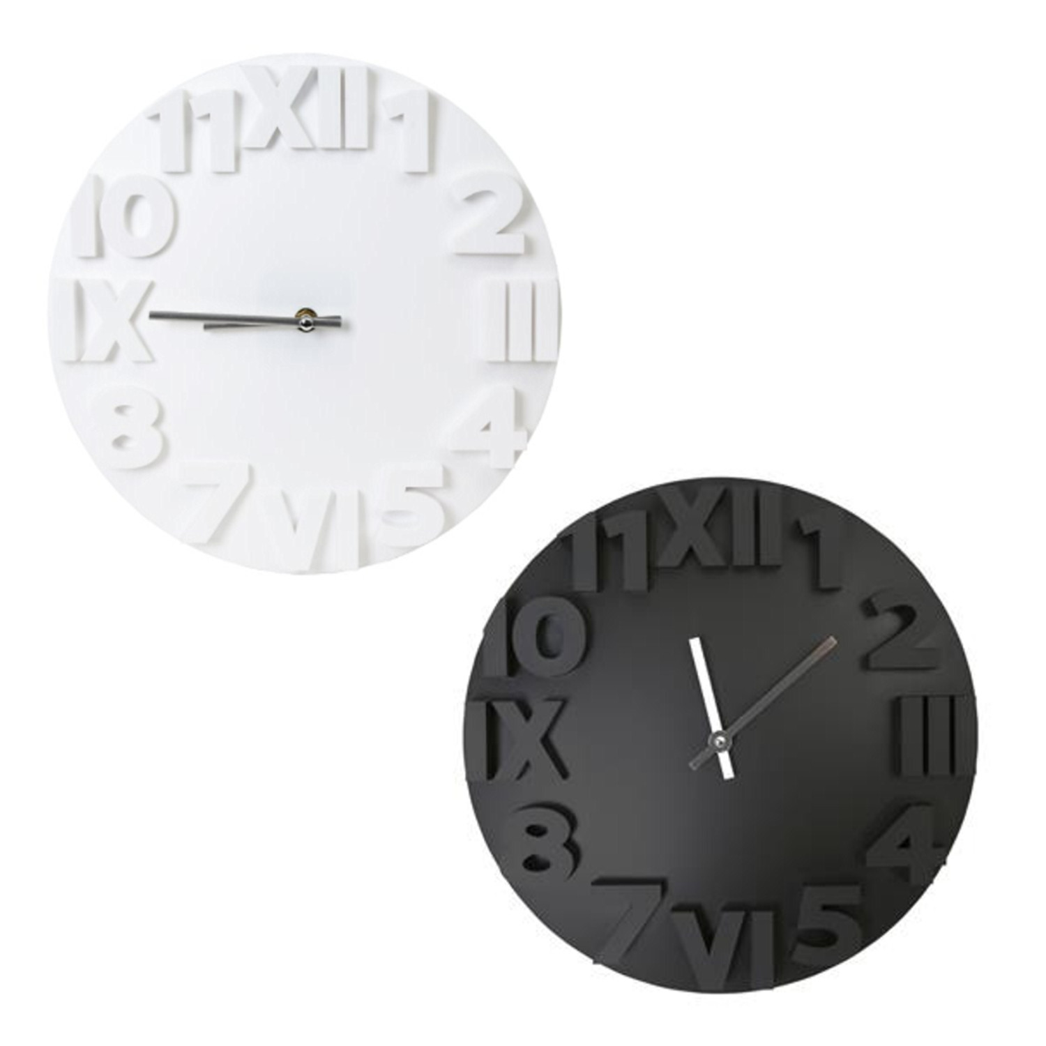 gro e wanduhr modern in zwei farben platinet wall clock designer wand kunsstoff ebay. Black Bedroom Furniture Sets. Home Design Ideas