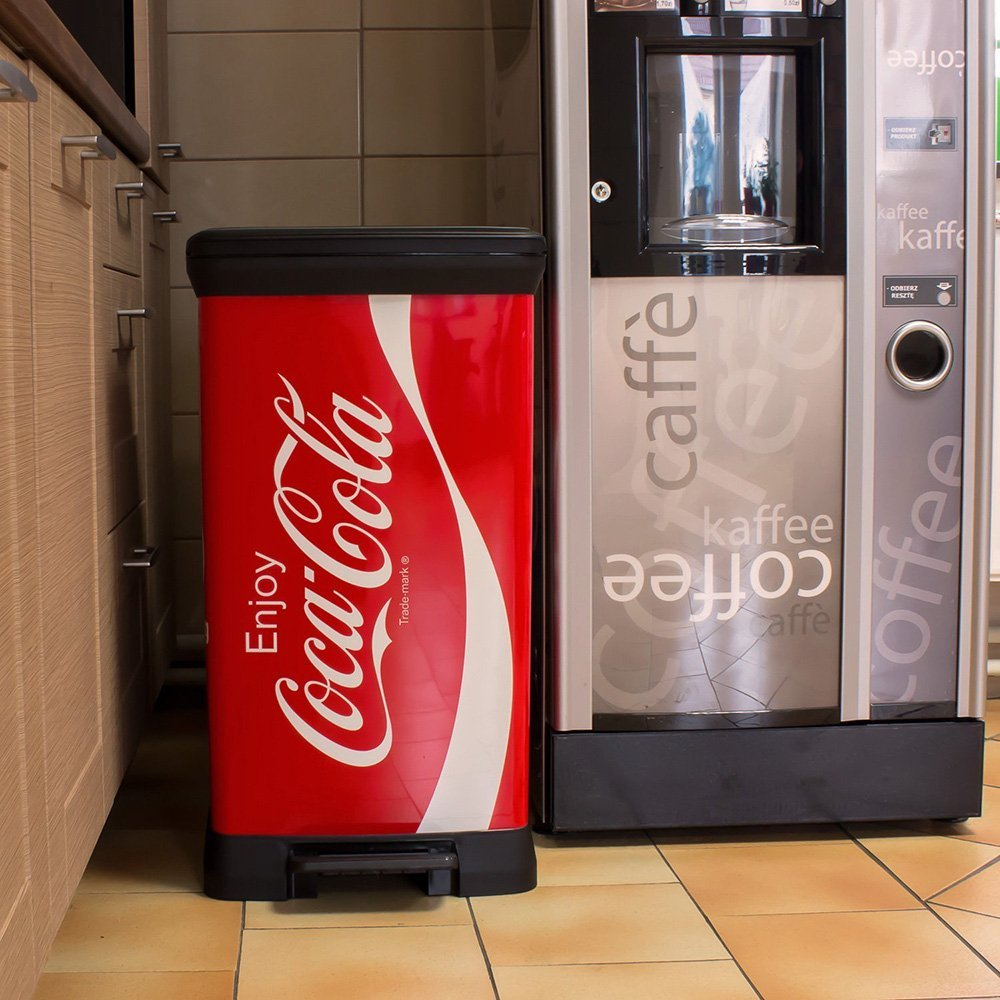 m lleimer coca cola design abfalleimer 50 liter curver tretpedal gl nyend eimer ebay. Black Bedroom Furniture Sets. Home Design Ideas