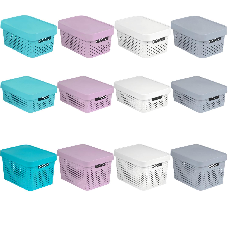 aufbewahrungsbox mit deckel ordnungsbox 4 5l 11l 17l curver rosa grau wei blau ebay. Black Bedroom Furniture Sets. Home Design Ideas