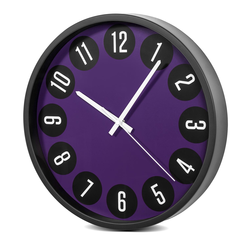 horloge murale moderne silencieuse 14 34cm noir violet ce ce50b violet noir ebay. Black Bedroom Furniture Sets. Home Design Ideas