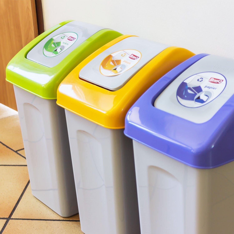 Details zu Abfalleimer mit Kippdeckel in 3 Farben 10 Liter Branq Mülleimer Mülltrennung