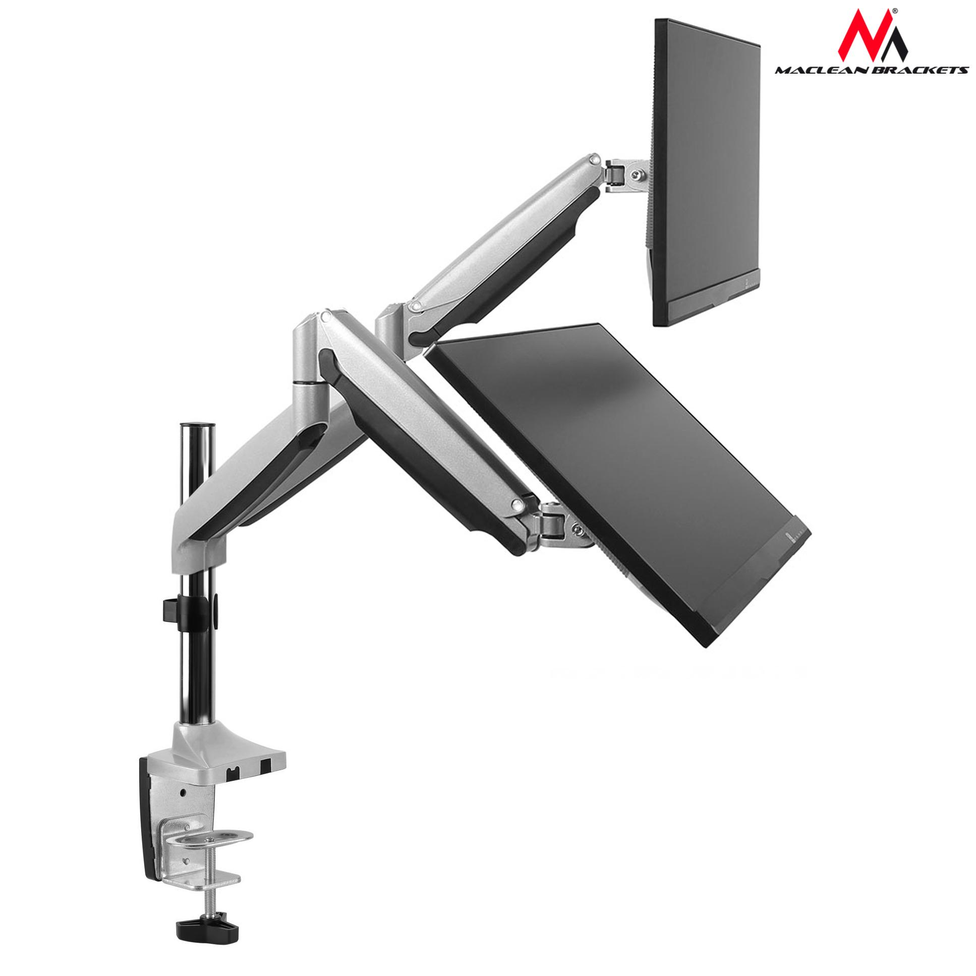 2 fach monitor laptop universal halterung tischhalterung doppel arm federarm ebay. Black Bedroom Furniture Sets. Home Design Ideas