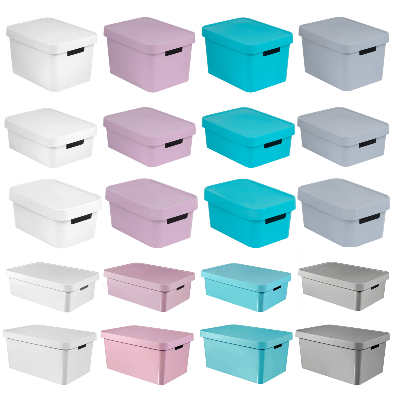 aufbewahrungsbox deckel curver ordnung aufbewahrung box 4 5 11 17 30 45 liter ebay. Black Bedroom Furniture Sets. Home Design Ideas