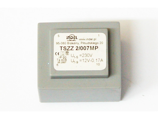 TRANSFORMATOR TSZZ 2/007MP 12V-0,17A TSZZ 2/007MP MONTAŻO