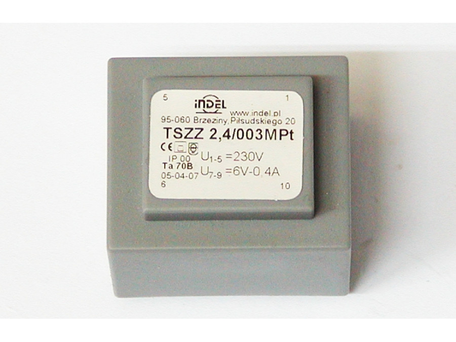TRANSFORMATOR 6V-0,4A TSZZ 2,4/003MPt MONTAŻOWY