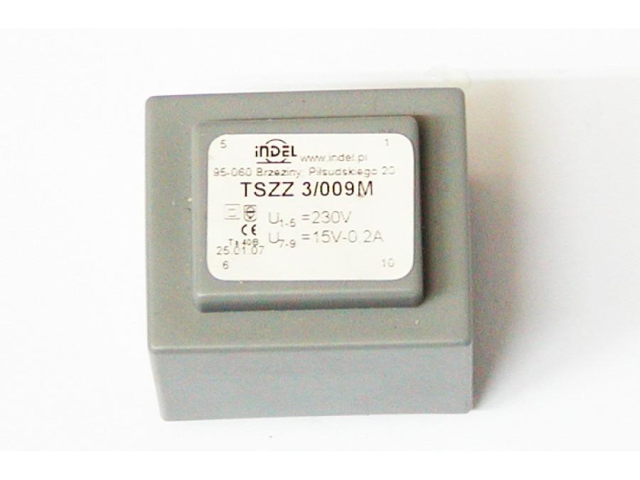 TRANSFORMATOR TSZZ 3/009M 15V-0,2A TSZZ 3/009M MONTAŻOWY