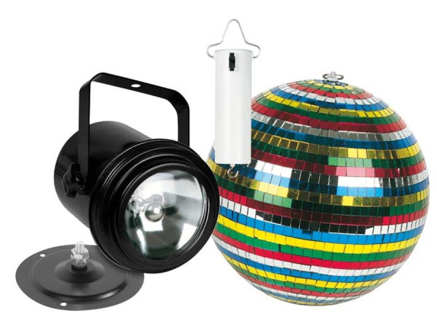 Zestaw kula lustrzana 15cm silnik PAR36 kolorowa