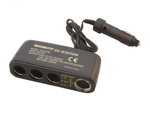 Rozgałęziacz gniazda zapalniczki x4 z testerem akumulatora PLUGC4F