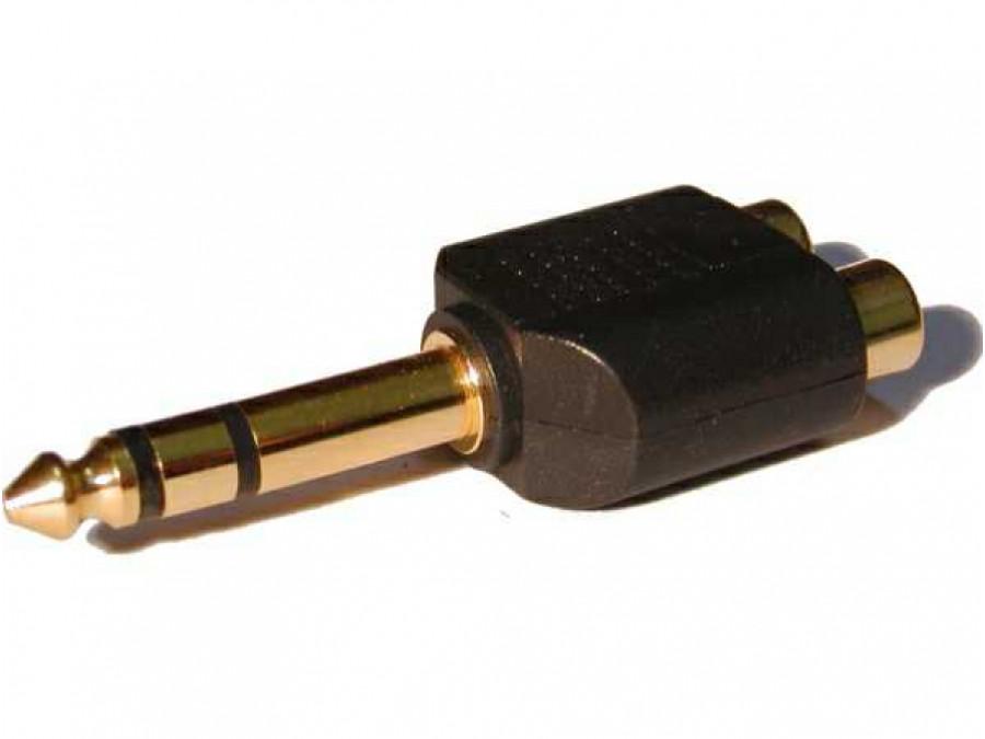 Redukcja jack wtyk 6,3mm 2 gniazdo cinch stereo