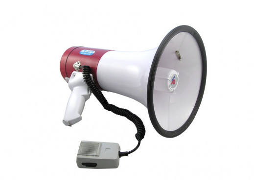 Megafon przenośny DH09 typu Horn moc 35W, średnica 240mm, długość 355mm zasilanie 8xR20