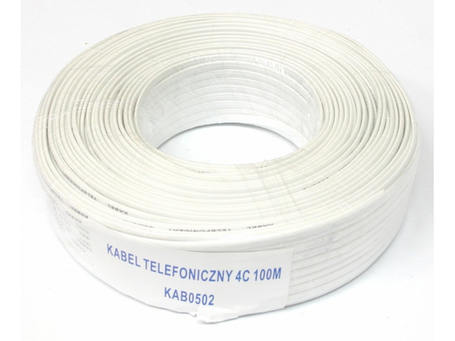 Kabel telefoniczny 4 żyłowy biały
