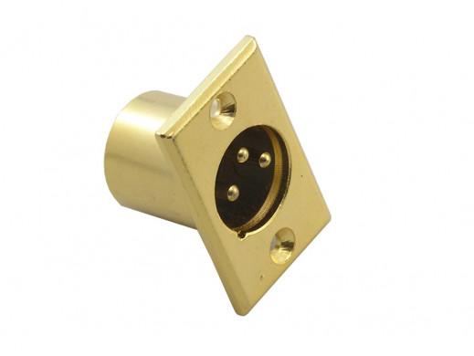 Gniazdo XLR męskie montażowe złote