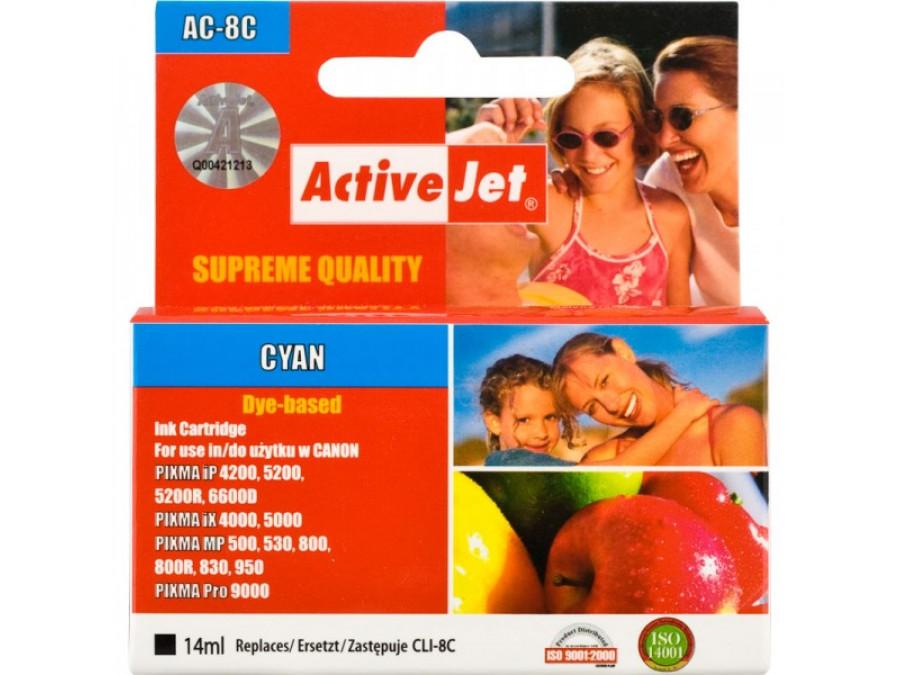 Tusz Canon CLi-8C AC-8C 14ml Cyan  Pixma iP4200, 4300, 4500, 5200, 5200R,5300, 6600D, 6700D, Pixma MP 500, 530, 600, 600R, 800,