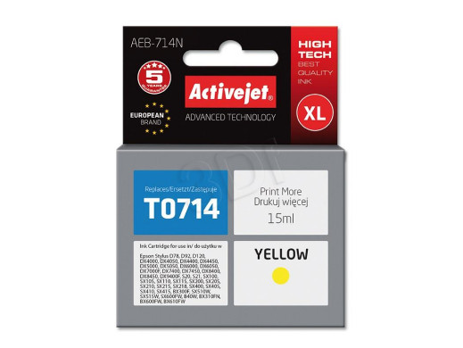 Tusz Epson T0714 AEB-714 15ml Yellow Stylus D78, D92, D120, DX4000, DX4050, DX4400, DX4450, DX5000, DX5050, DX6000, DX6050, DX7