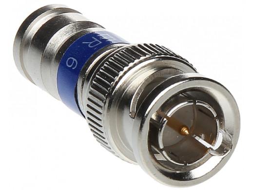 Wtyk BNC RG6 Kompresyjny niebieski