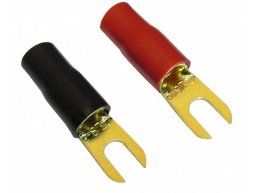 Konektor widełki 4,3mm na KABEL 10mm gold