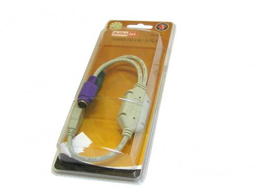 Adapter wtyk USB - gn 2xPS/2 na przewodzie