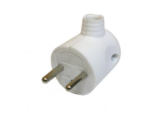 Wtyczka prądowa kątowa z uziemieniem biała