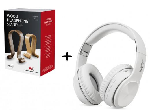 Słuchawki Audiocore AC705 W białe + Stojak na słuchawki Maclean MC-815O