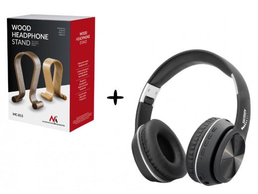 Słuchawki Audiocore AC705 B czarne + Stojak na słuchawki Maclean MC-815O