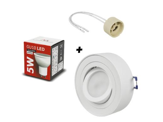Oprawa sufitowa, MCE462 W + Żarówka LED, GU10, MCE435 WW + Gniazdo przyłączeniowe, MCE428
