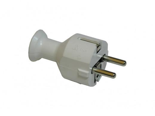 Wtyczka prądowa WT-40 prosta z uziemieniem biała