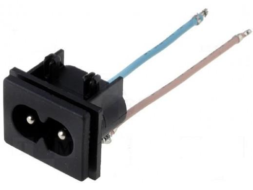 Gniazdo sieciowe 2 PIN ÓSEMKA do zabudowy z przewodem 24,5*18,5*17mm