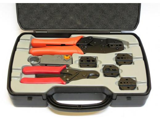 Komplet HT-330K 8 części zaciskarka obcinaczki wketak krzyżak ściągacz izolacji w walizce