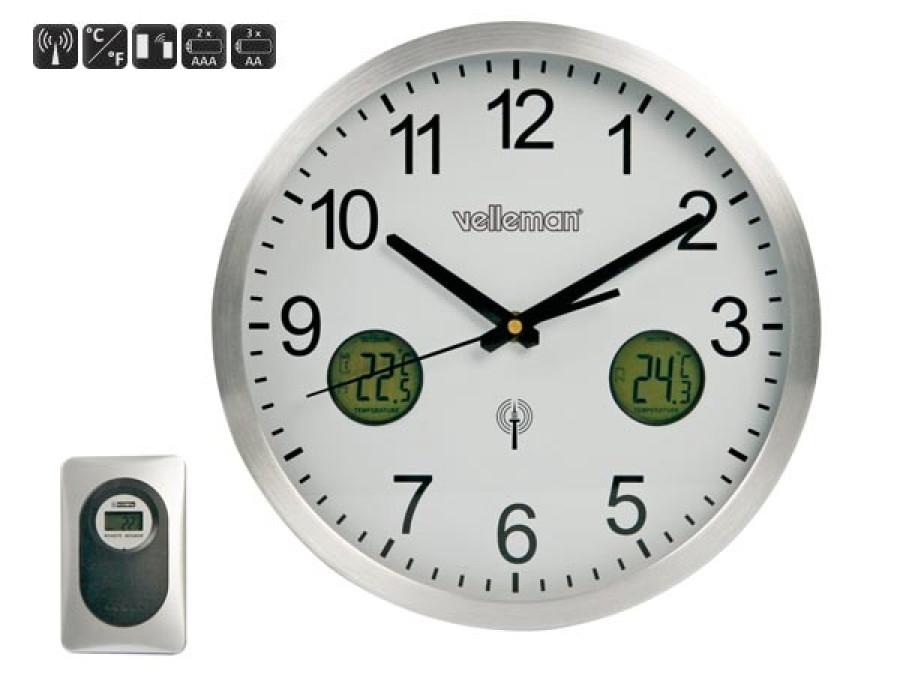 Zegar z termometrem wewnątrz / zewnątrz DCF średnica 30cm WC3320