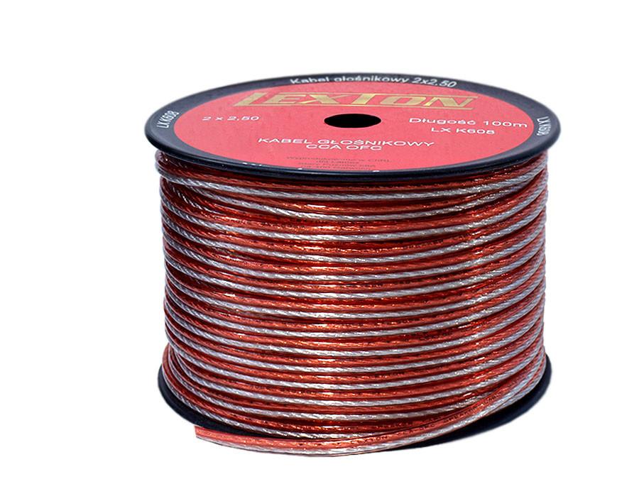 Kabel głośnikowy 2*2,5mm przezroczysty