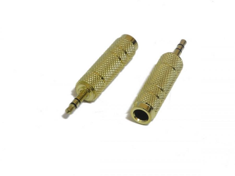 Redukcja 3,5mm wtyk jack/gn 6,3mm jack stereo gold