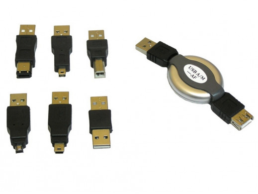 Zestaw 6 adapterów USB + przewód ze zwijaczem.